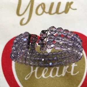 Jewelry - Faceted Purple Glass Bead Wire Bracelet
